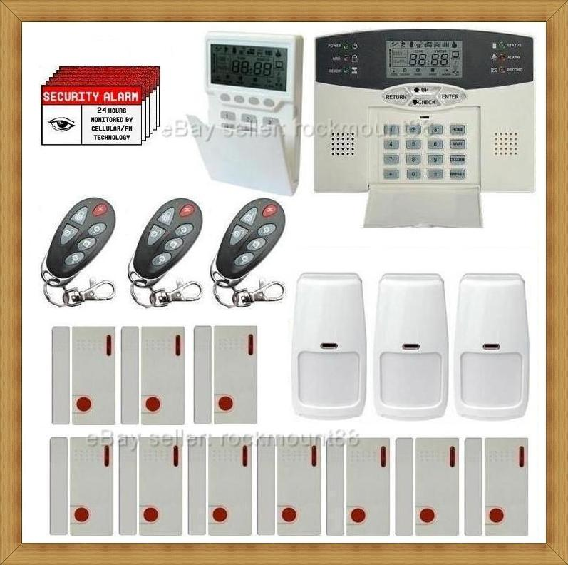 Self monitoring wireless lcd home security system burglar for Self security system